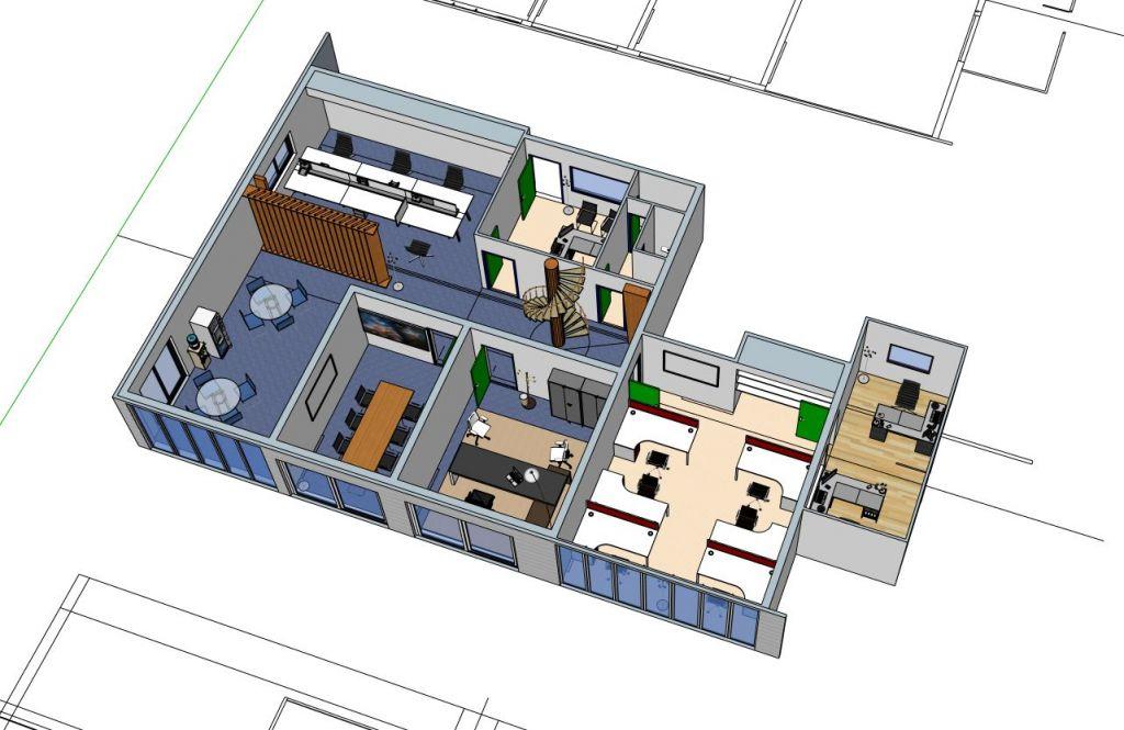 Agencement 3D de bureaux